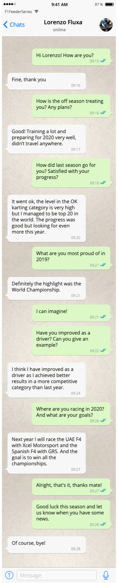 WhatsApp interview Lorenzo Fluxa